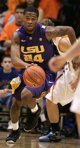 LSU's Malik Morgan (24) pushes the ball downcourt against Boise State during the first half of an NCAA college basketball game on Friday, Dec. 14, 2012 in Boise, Idaho. (AP Photo/Matt Cilley)