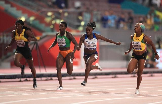 Shelly-Ann Fraser-Pryce, far right, came out on top as Asher-Smith, second right, became the first British female sprinter to claim a world medal