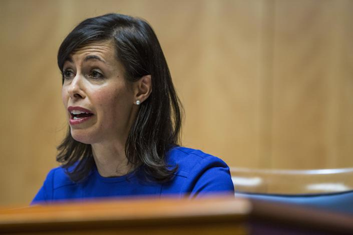 Jessica Rosenworcel speaks during an open meeting in Washington, D.C., last Thursday. (Photo: Bloomberg via Getty Images)