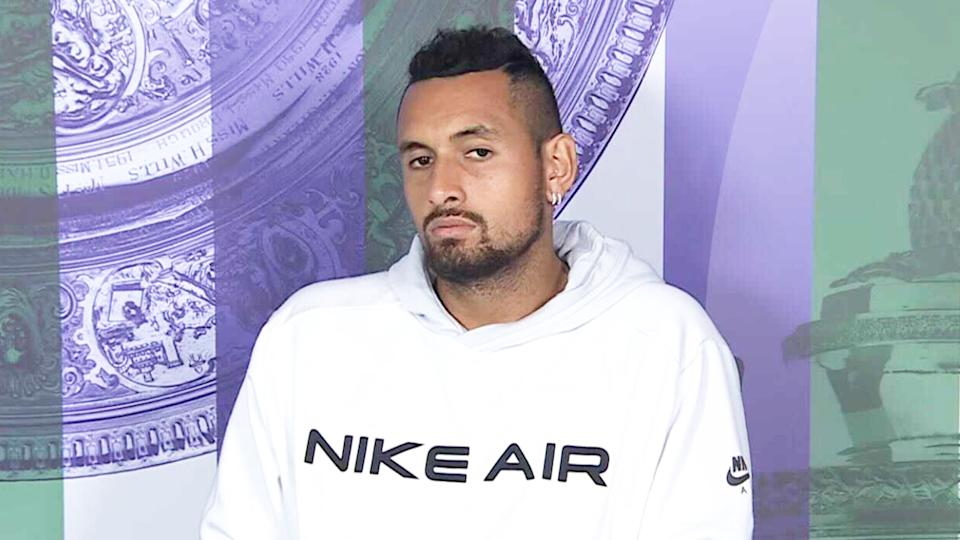 Nick Kyrgios (pictured) during a press conference at Wimbledon.