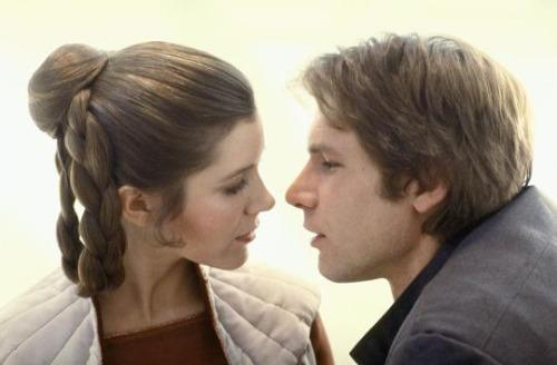 Carrie Fisher and Harrison Ford kiss in 'Star Wars: The Empire Strikes Back'