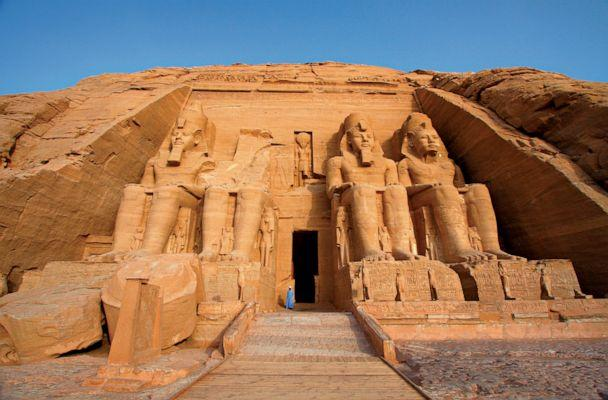 Colossal statues of Egyptian pharaoh Ramses II guard the entrance to Abu Simbel's main temple. (National Geographic/Dan Breckwoldt/Shutterstock)