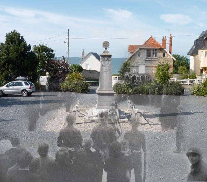 """Soldiers honoring Bastille Day in a town in Normandy. The monument still stands.<br><br>(<a href=""""http://www.flickr.com/photos/hab3045/collections/72157629378669812/"""" rel=""""nofollow noopener"""" target=""""_blank"""" data-ylk=""""slk:Courtesy of Jo Teeuwisse"""" class=""""link rapid-noclick-resp"""">Courtesy of Jo Teeuwisse</a>)"""