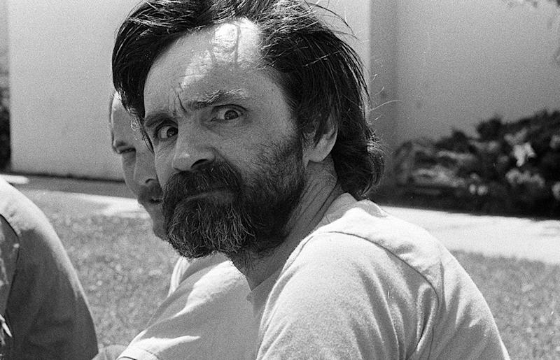 Charles Manson at a California medical facility in August 1980. (Mirrorpix via Getty Images)