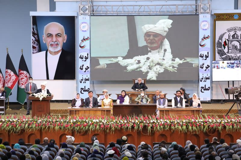 Afghanistan's President Ashraf Ghani speaks during a consultative grand assembly, known as Loya Jirga, in Kabul