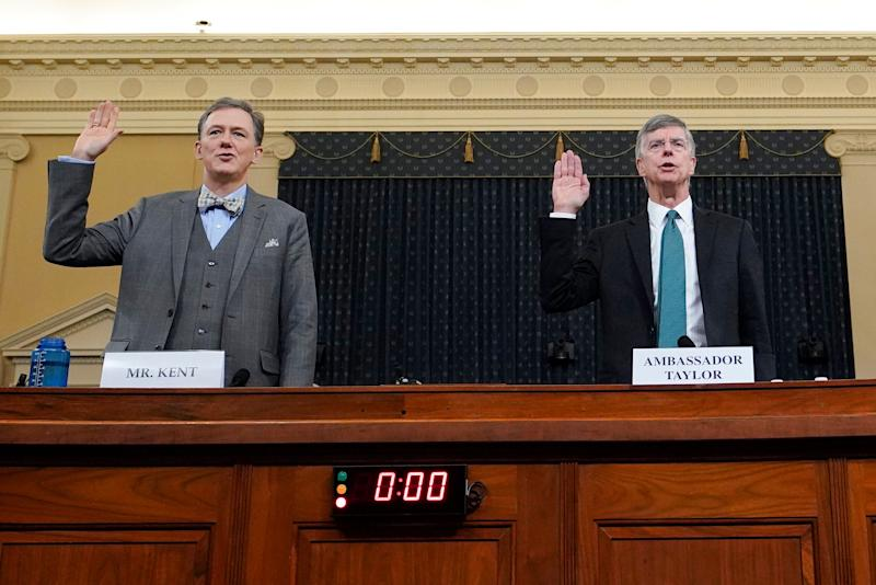 State Department official George Kent (left) and top U.S. diplomat in Ukraine William Taylor are sworn in prior to testifying before the House Intelligence Committee on Nov. 13, 2019. (Photo: Joshua Roberts / Getty Images)