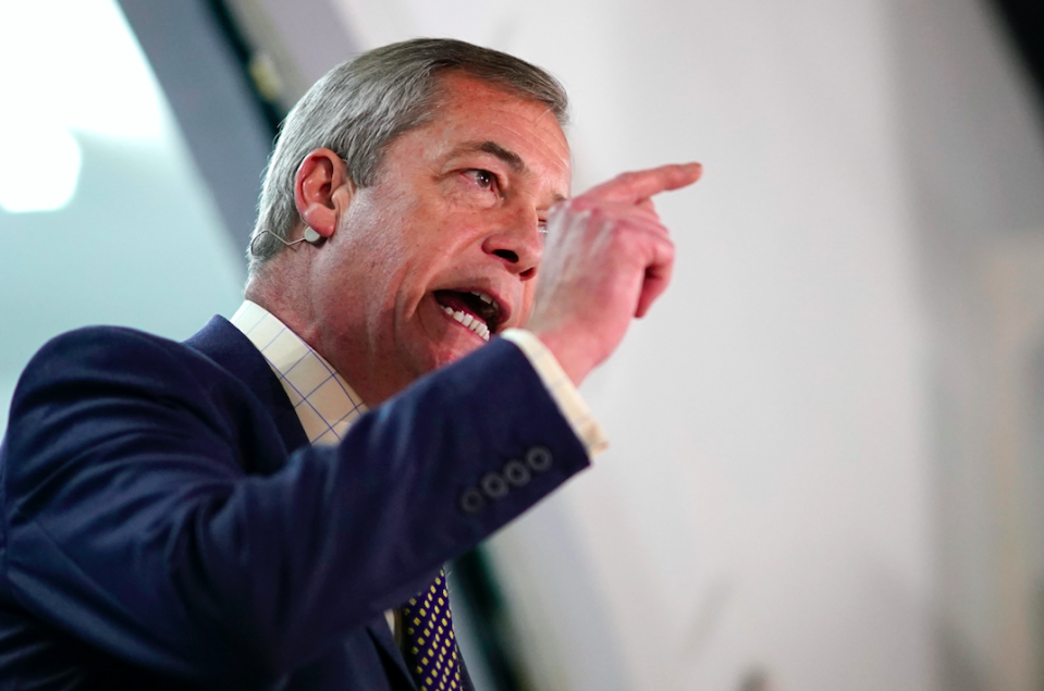 """It has been a mixed year for Nigel Farage, who topped the Euro elections in May with his brand new Brexit Party, but failed to win any seats in December's General Election. His decision to <a href=""""https://uk.news.yahoo.com/nigel-farage-brexit-party-constituencies-boris-johnson-election-victory-122314181.html"""" data-ylk=""""slk:stand down over 300 candidates;outcm:mb_qualified_link;_E:mb_qualified_link;ct:story;"""" class=""""link rapid-noclick-resp yahoo-link""""><strong>stand down over 300 candidates</strong></a> was seen as a factor that led to the Tory landslide. (Getty)"""