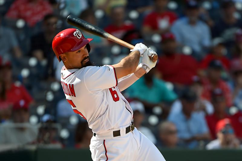 WASHINGTON, DC - SEPTEMBER 24: Anthony Rendon #6 of the Washington Nationals at bat against the Philadelphia Phillies during game one of a doubleheader at Nationals Park on September 24, 2019 in Washington, DC. (Photo by Will Newton/Getty Images)
