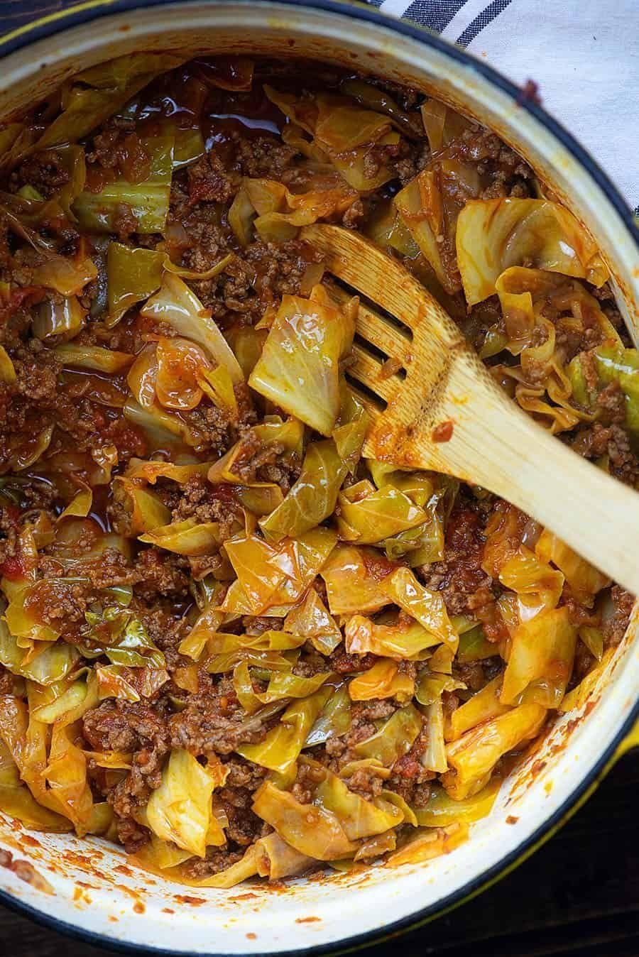 """<p>Like your favorite cabbage dish without all the fuss.</p><p>Get the recipe from <a href=""""https://thatlowcarblife.com/unstuffed-cabbage-rolls/"""" rel=""""nofollow noopener"""" target=""""_blank"""" data-ylk=""""slk:That Low Carb Life"""" class=""""link rapid-noclick-resp"""">That Low Carb Life</a>.</p>"""