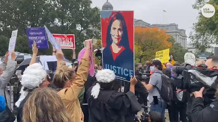 """Amy Coney Barrett protesters could be heard saying, """"No confirmation until inauguration,"""" while supporters said """"we have the votes."""""""