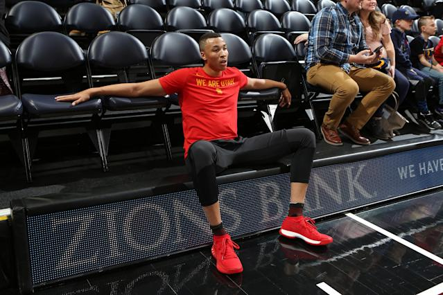 "After five long months of rehab, <a class=""link rapid-noclick-resp"" href=""/nba/players/5316/"" data-ylk=""slk:Dante Exum"">Dante Exum</a>'s ready to get off the sideline and back into the game for the <a class=""link rapid-noclick-resp"" href=""/nba/teams/uth/"" data-ylk=""slk:Utah Jazz"">Utah Jazz</a>. (Getty)"