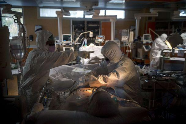 PHOTO: Doctors treat COVID-19 patients in an intensive care unit at the third Covid 3 Hospital (Istituto clinico CasalPalocco) during the Coronavirus emergency, March 26, 2020, in Rome, Italy. (Antonio Masiello/Getty Images, FILE)