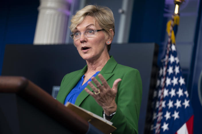 """FILE - In this May 11, 2021 file photo Energy Secretary Jennifer Granholm speaks during a press briefing at the White House in Washington. The damned-if-you-pay-damned-if-you-don't dilemma on ransomware payments has left U.S. officials fumbling about how to respond. While the Biden administration """"strongly discourages"""" paying, it recognizes that failing to pay would be suicidal for some victims. Granholm said this month that she is in favor of banning payments. """"But I don't know whether Congress or the president is."""" (AP Photo/Evan Vucci, File)"""