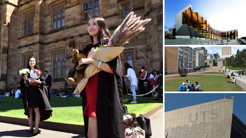 Left: A Chinese student graduates from her Masters of Commerce at the University of Sydney in 2017. Right: the Australian National University; the University of New South Wales; and the University of Technology, Sydney. (Source: Getty)
