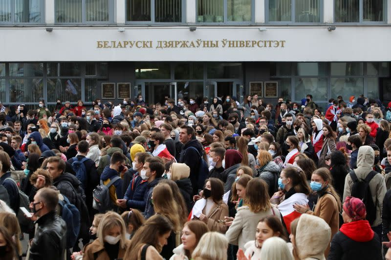 Students attend an opposition rally to reject the Belarusian presidential election results in Minsk