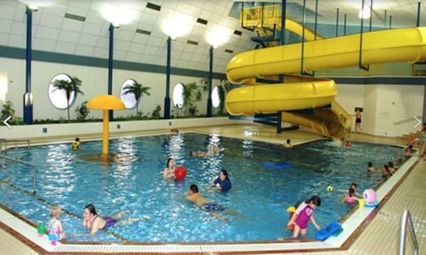 The recreation section of the Four Seasons Leisure Pool in Prince George, B.C. There is also a children's pool and a section for swim lanes and divers.