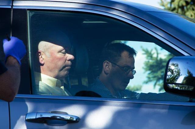 """Republican candidate for Montana's only U.S. House seat, Greg Gianforte, sits in a vehicle near a Discovery Drive building Wednesday, May 24, 2017, in Bozeman, Mont. A reporter said Gianforte """"body-slammed"""" him Wednesday, the day before the special election. (Freddy Monares/Bozeman Daily Chronicle via AP)"""