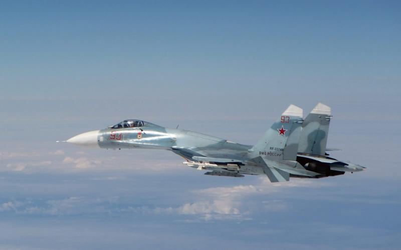 A Russian Su-27 seen near Estonia in 2016 when it was intercepted by the RAF - MOD