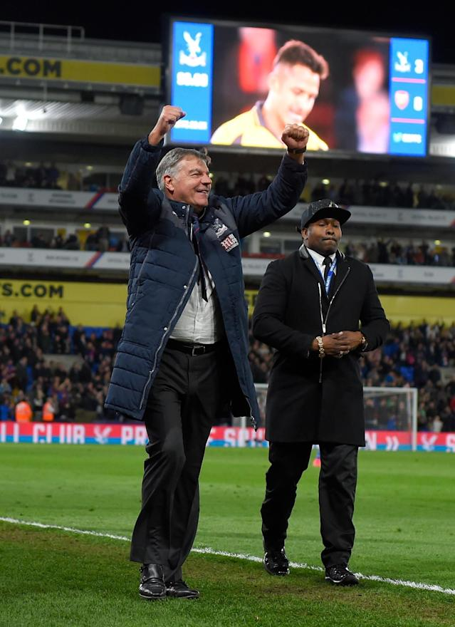 <p>Palace manager Sam Allardyce celebrates</p>