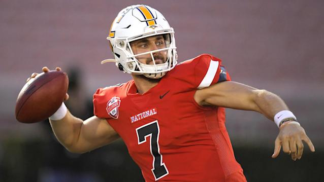 National Team quarterback Nick Tiano, of UT-Chattanooga, passes during the first half of the Collegiate Bowl college football game against the American Team Saturday, Jan. 18, 2020, in Pasadena, Calif. (AP Photo/Mark J. Terrill)