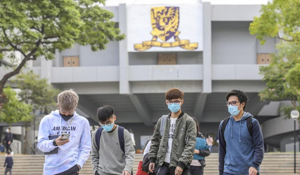 Students walk on the campus of Chinese University, which dropped in the rankings of seven out of 11 subjects. Photo: Winson Wong