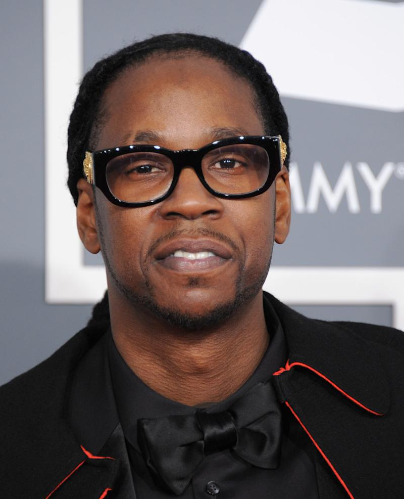 FILE - This Feb. 10, 2013 file photo shows rap artist 2 Chainz at the 55th annual Grammy Awards in Los Angeles. Maryland State Police spokesman Sgt. Marc Black says troopers stopped a van Thursday, Feb. 14, for speeding and smelled marijuana. A backpack in the van was found to have a marijuana grinder and trace amounts of marijuana. 2 Chainz, whose real name is Tauheed Epps, claimed possession of the backpack and was arrested. Black says Epps was cited for having drug paraphernalia and marijuana and was released. The citation carries up to a year in jail and up to a $1,000 fine. (Photo by Jordan Strauss/Invision/AP, file)