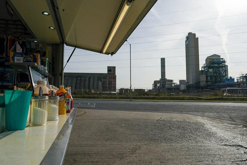 Dave's truck, in the shadow of the CF Fertilisers site (Getty Images)