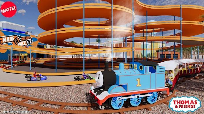 Crystal Lagoons Island Resort announced it will neighbor a Mattel theme park with Thomas and Friends and Hot Wheels-themed attractions.
