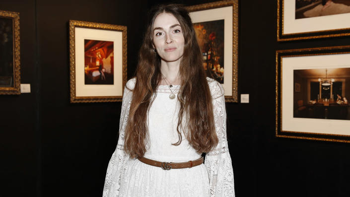 """Artist Anna Marie Tendler photographed during The Other Art Fair Los Angeles presented by Saatchi Art in partnership with BOMBAY SAPPHIRE at Barker Hangar on September 23, 2021 in Santa Monica, California. <span class=""""copyright"""">Rachel Murray/Getty Images for The Other Art Fair</span>"""