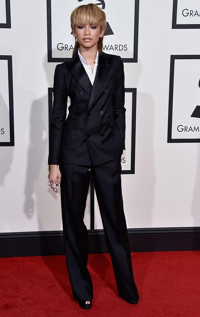 <p>At the 58th Grammy Awards, the singer proved she knows how to tackle tailoring like a pro as she donned a two-piece by Dsquared. <em>[Photo: Getty]</em> </p>
