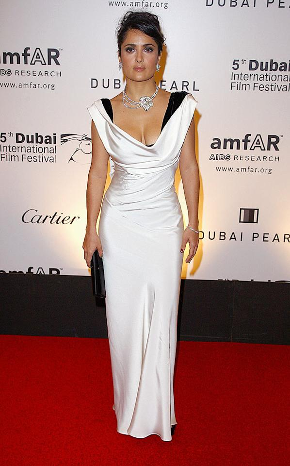 """Salma Hayek glammed it up at the 2nd Annual amfAR Cinema Against AIDS Dubai Gala on Thursday. Proceeds from the black tie event went to AIDS research. Gareth Cattermole/<a href=""""http://www.gettyimages.com/"""" target=""""new"""">GettyImages.com</a> - December 12, 2008"""