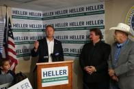 Republican Dean Heller speaks to reporters about his plans to challenge Democratic Gov. Steve Sisolak in the 2022 midterm elections on Monday, Sept. 20, 2021 in Carson City, Nev. The former U.S. Senator joins a crowded Republican primary field in what's expected to be among the most competitive gubernatorial races in the United States. (AP Photo/Samuel Metz)