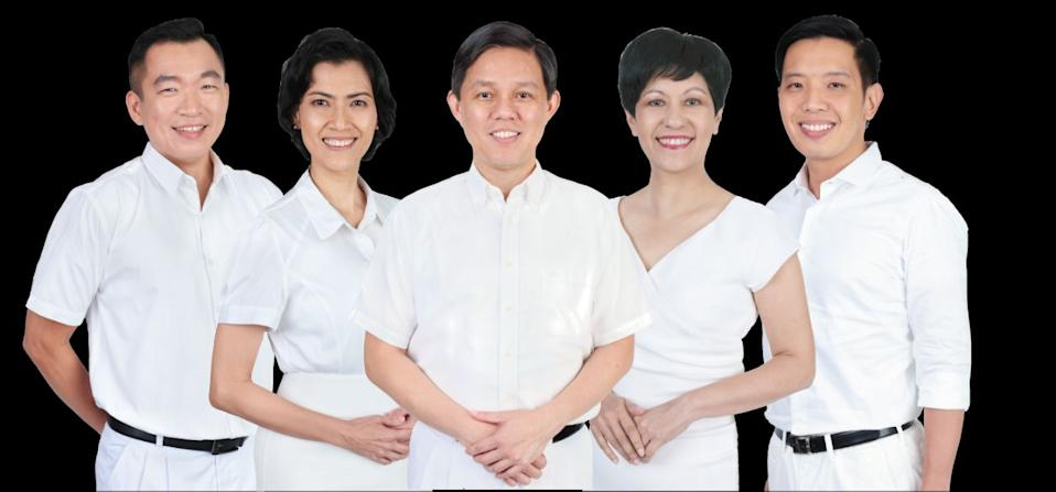Eric Chua (far left) and Alvin Tan (far right) are among the People's Action Party candidates for Tanjong Pagar GRC. PHOTO: PAP