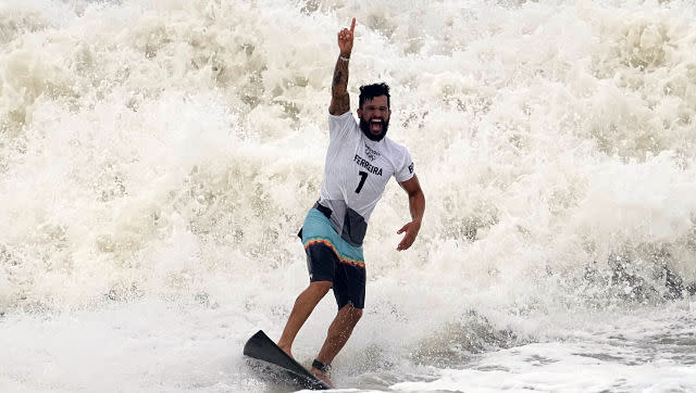Meanwhile, Brazil's Italo Ferreira won gold in the men's surfing category, beating Japan's Kanoa Igarashi in the final. AP