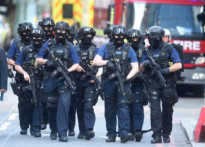 Anti-terror police at the scene of the attack at London Bridge: Jeremy Selwyn