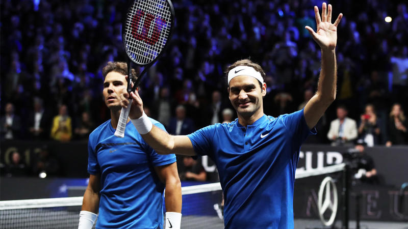 Rafael Nadal and Roger Federer at the 2017 Laver Cup. (Getty Images)