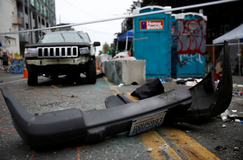 The CHOP area after a fatal shooting incident in Seattle