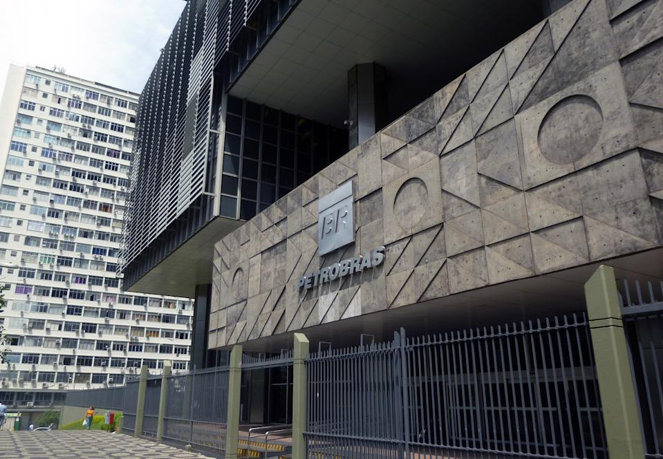 Main entrance of the Petrobras headquarters building - Brazilian oil company in downtown.