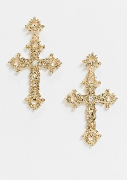 Liars & Lovers cross earrings in gold, sale price $18 from ASOS. Photo: ASOS.