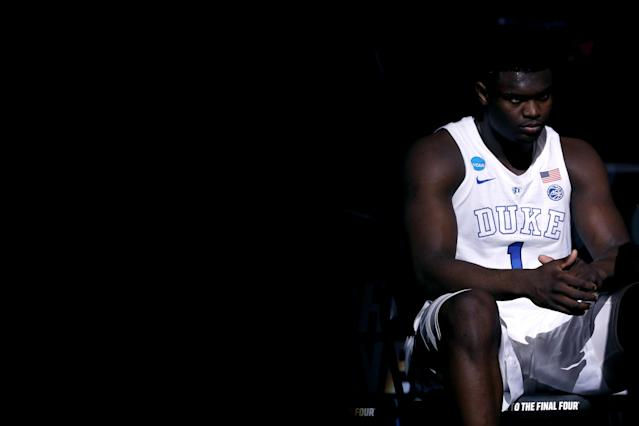 <p>Zion Williamson #1 of the Duke Blue Devils looks on prior to the start of the first half in the East Regional game against the Virginia Tech Hokies of the 2019 NCAA Men's Basketball Tournament at Capital One Arena on March 29, 2019 in Washington, DC. (Photo by Patrick Smith/Getty Images) </p>