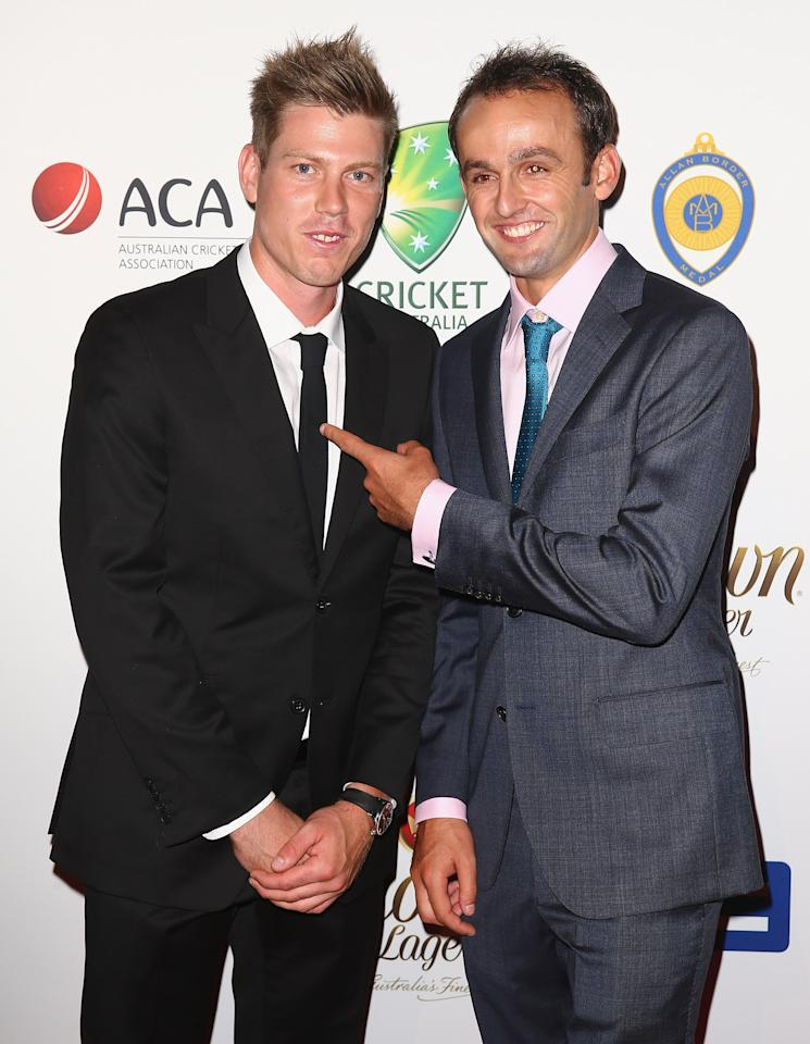 SYDNEY, AUSTRALIA - JANUARY 20:  James Faulkner and Nathan Lyon arrive at the 2014 Allan Border Medal at Doltone House  on January 20, 2014 in Sydney, Australia.  (Photo by Don Arnold/WireImage)