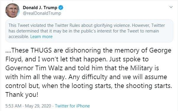 A tweet by President Donald Trump has been hidden from his profile after Twitter said it violated rules about glorifying violence  - Twitter/Twitter
