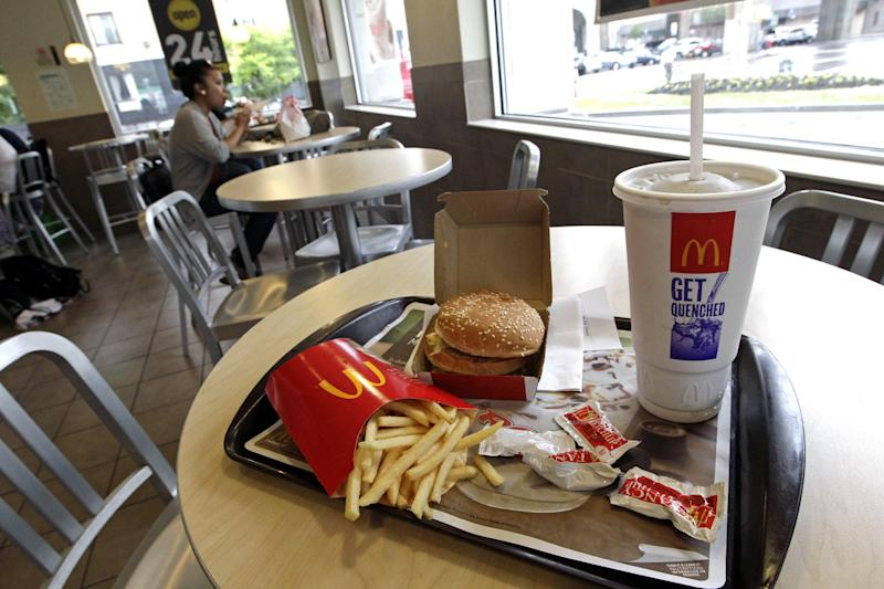 A meal with a large beverage is displayed on a tray at a McDonald's restaurant, Tuesday, June 12, 2012, in New York. Mayor Michael Bloomberg's proposal to ban large sugary drinks from New York City eateries is moving forward. The health board voted unanimously Tuesday to begin a public comment period on the new rule. A formal vote on approval will come later, but several board members spoke strongly in favor of the plan. (AP Photo/Mary Altaffer)
