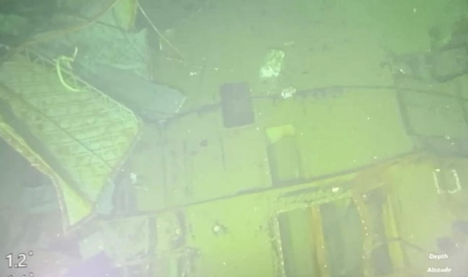 This undated underwater photo released Sunday April 25, 2021, by Indonesian Navy shows parts of submarine KRI Nanggala that sank in Bali Sea, Indonesia. Indonesia's military on Sunday officially admitted there was no hope of finding survivors from a submarine that sank and broke apart last week with 53 crew members aboard, and that search teams had located the vessel's wreckage on the ocean floor. (Indonesian Navy via AP)