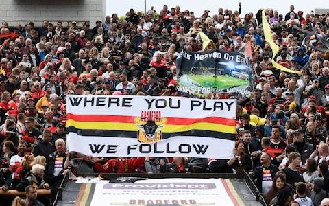 Bradford Bulls fans show their support prior to the Betfred Championship match between Bradford Bulls and Sheffield Eagles - Credit: GETTY IMAGES