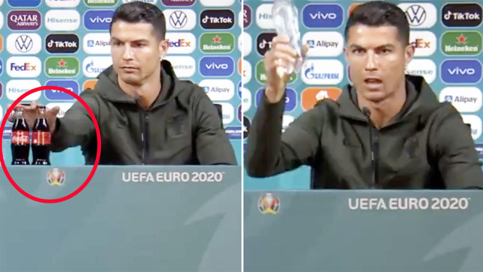 Cristiano Ronaldo, pictured here removing the Coca-Cola bottles at his press conference.