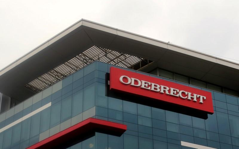 A sign of the Odebrecht Brazilian construction conglomerate is seen at their headquarters in Lima
