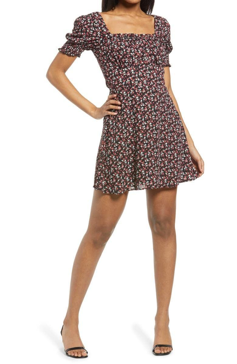 <p>Style this <span>Row A Emma Smocked Ruffle Minidress</span> ($42) with black strappy heels.</p>