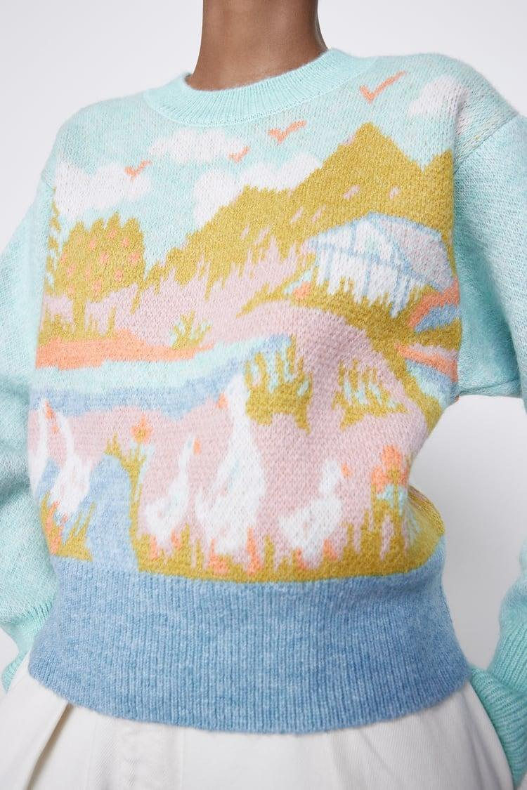 <p>This <span>Jacquard Knit Sweater</span> ($50) will be so pretty for spring.</p>