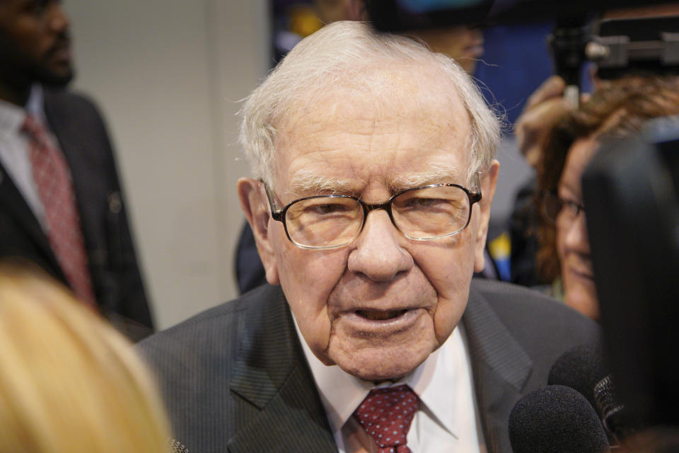Warren Buffett, Chairman and CEO of Berkshire Hathaway, during a tour of the CHI Health convention center where various Berkshire Hathaway companies display their products, before presiding over the annual shareholders meeting in Omaha, Neb., Saturday, May 4, 2019. An estimated 40,000 people are expected in town for the event, where Buffett and his Vice Chairman Charlie Munger will preside over the meeting and spend hours answering questions. (AP Photo/Nati Harnik)